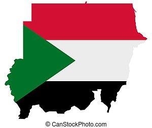 térkép, sudan lobogó