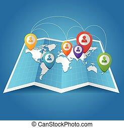 térkép, szín, elhelyezés, faszegek, világ, geo, vectior