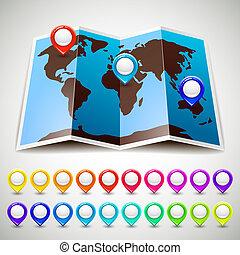 térkép, színes, gombostű, irányzók, elhelyezés, világ