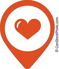 térkép, szív, ábra, vektor, icon., mutató