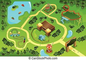 térkép, téma, vidámpark