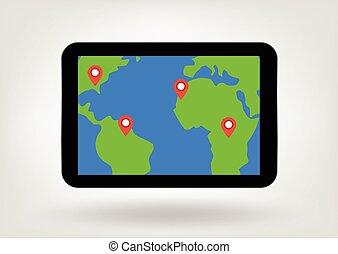 térkép, tabletta, ábra, elhelyezés, faszegek, bemutatás