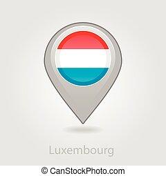 térkép tekebábu, ábra, lobogó, vektor, luxemburg, ikon