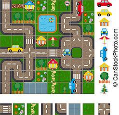 térkép, tervez, utcák
