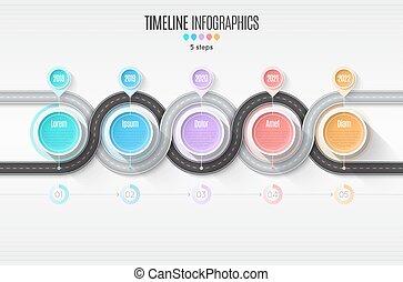 térkép, timeline, concept., kanyargás, infographic, lépések, roa, 5, navigáció