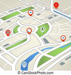 térkép, város, elvont