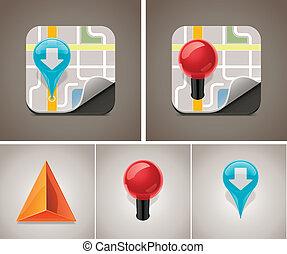 térkép, vektor, állhatatos, ikon