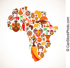 térkép, vektor, afrika, ikonok