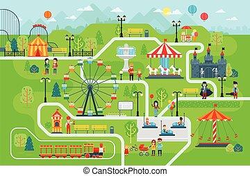 térkép, vektor, lakás, liget, infographic, szórakozás, alapismeretek, design.