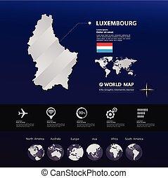 térkép, vektor, luxemburg