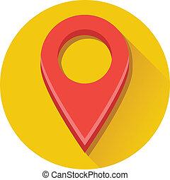 térkép, vektor, piros, címke