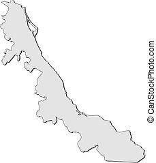 térkép, veracruz, -, (mexico)