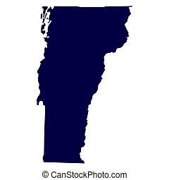térkép, vermont, belétek. s., állam