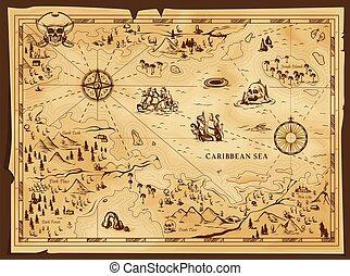 térkép, vidám, öreg, rendben !, vektor, pergament, kalóz