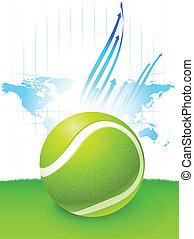 térkép, világ, labda, háttér, tenisz