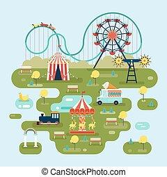 térkép, vonzások, cirkusz, liget, vagy, szórakozás