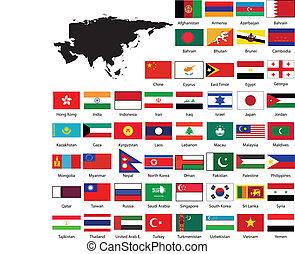 térkép, zászlók, ázsia