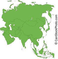térkép, zöld, ázsia