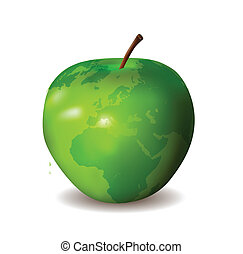 térkép, zöld alma, világ