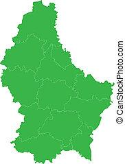 térkép, zöld, luxemburg