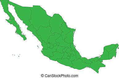 térkép, zöld, mexikó