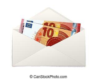 tíz, boríték, két, banknotes, dolgozat, hamisít, fehér, euro