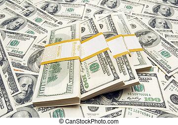 tíz, pénz, ezer, dollár, háttér, kazalba rak