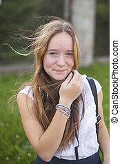 tízenéves kor, csinos, fiatal, portré, leány, outdoors.