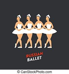 tó, dancers., hattyú, balett, négy, háttér., tánc, mód, lake., tchaikovsky, lakás, ballerinas, orosz, sötét