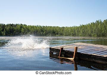 tó, háttér., loccsanás, víz, csiszol, szín, elkészített, után, tölt, elvont, nagy, csöpögés