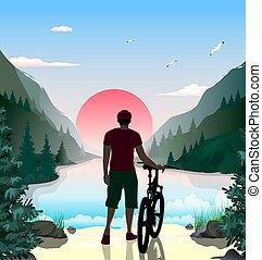 tó, hegy bábu, tengerpart, bicikli