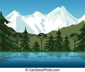 tó, hegy