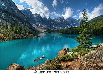 tó, liget, nemzeti, banff, moréna