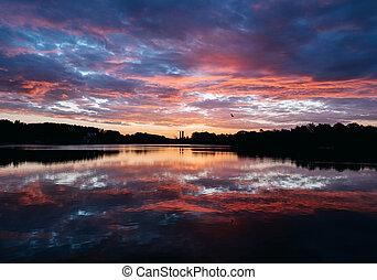 tó, napkelte, reggel, korán, előbb