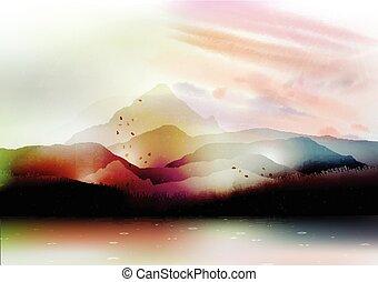 tó, nyár, völgy, hegyek