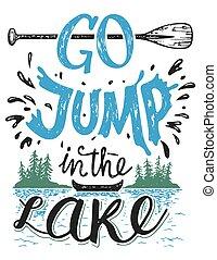 tó, ugrás, aláír, épület, jár, lakberendezési tárgyak
