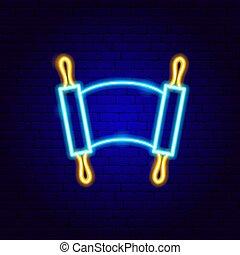 tóra, aláír, neon, zsidó