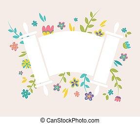 tóra, körülvevő, friss virág, zsidó, szüret
