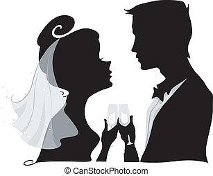 tószt, árnykép, esküvő