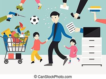 több feladattal való megbízás, atya, játék, dolgozó, kids., gyerekek, bevásárlás, üzletember, man.