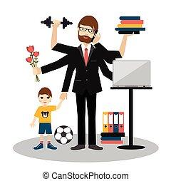 több feladattal való megbízás, gyakorlás, worker., apuka, fiú, férj, ember, hívás, romantikus, dolgozó, papa, gym., ember, atya, üzletember, elfoglalt, fiatal