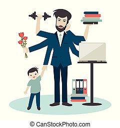 több feladattal való megbízás, hívás, üzletember, férj, atya, gyakorlás, gym., ember, ember, papa, fiatal, romantikus, dolgozó, fiú, elfoglalt, apuka, worker., lakás, vector.