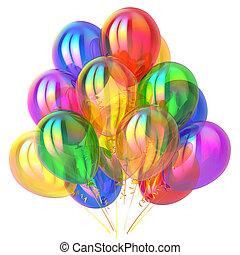 többszínű, dekoráció, születésnap, sima, fél, léggömb
