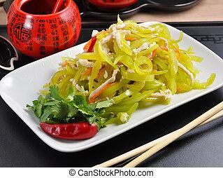 tök pepper, tányér, kínai, saláta, fehér, csirke