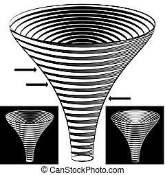 tölcsér, diagram, halftone