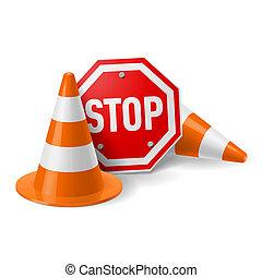 tölcsér, közlekedési jelzőtábla, piros, abbahagy