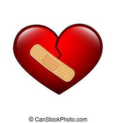 törött, bevakol, piros szív