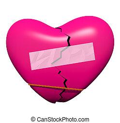 törött, kijavítás, szív