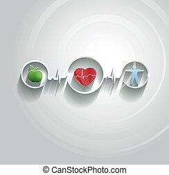 törődik, jelkép, egészség, conncected, fogalom