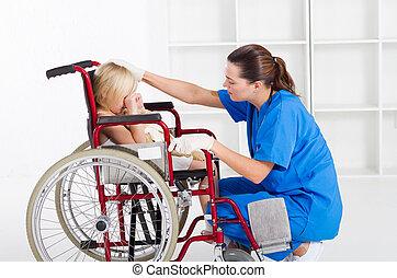 törődik, orvosi munkás